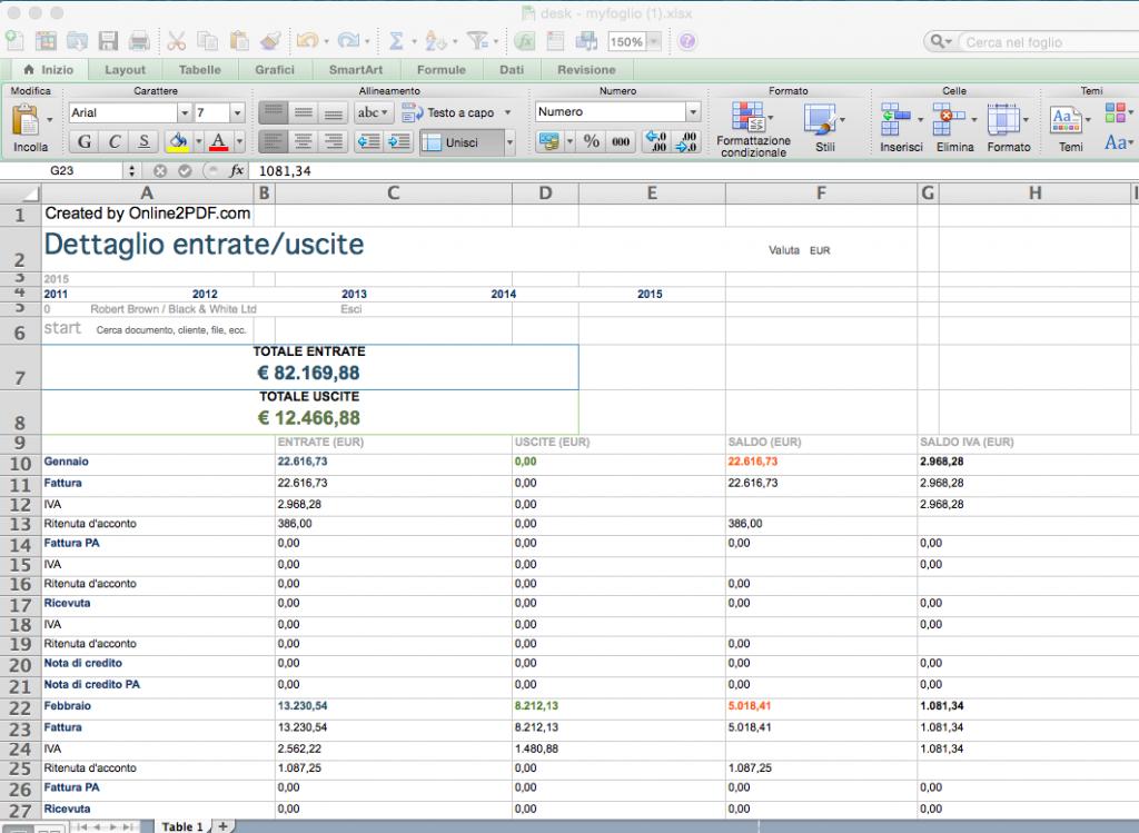 Dettaglio Entrate/Uscite in Excel