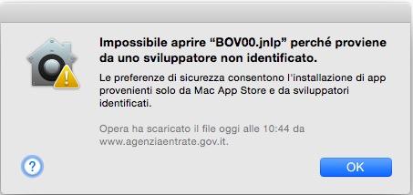 Avviso Mac OSX autore sconosciuto