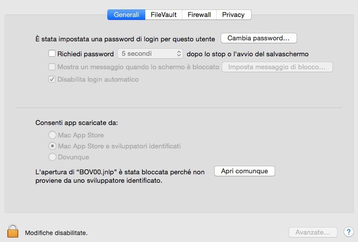 Autorizzazione all'installazione su MacOSX
