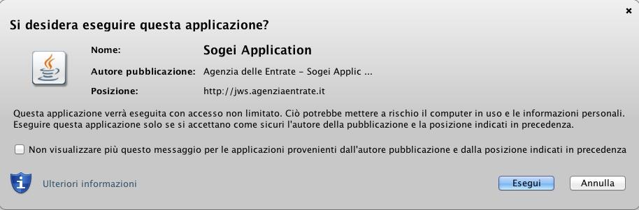 aprire applicazione java