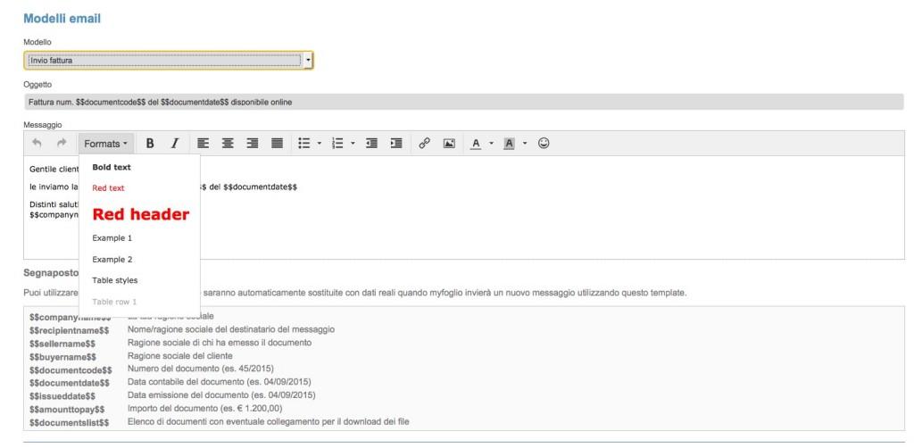 Personalizzazione testo messaggio