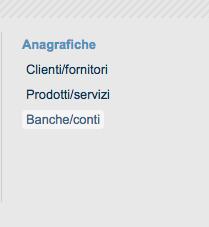 Anagrafica Banche/Conti