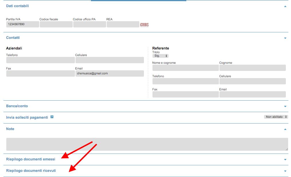 Riepilogo documenti emessi e ricevuti