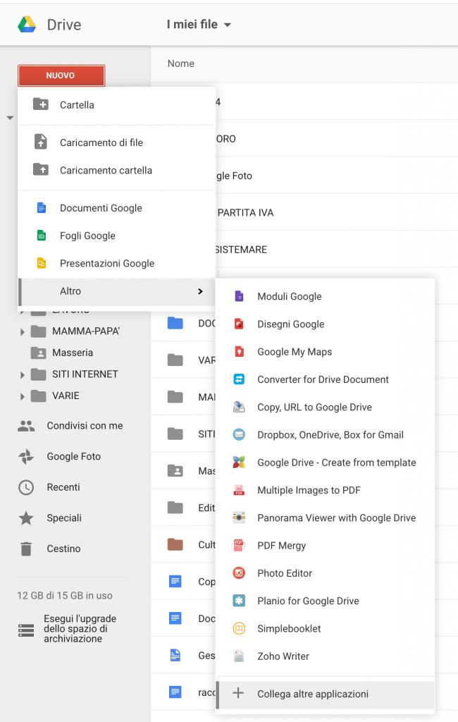Collega altre applicazioni in Google Drive